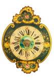 Ornamental eighteenth century wooden clock with flower pattern Stock Photos