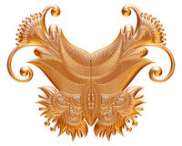 Ornamental Element in gold on isolated white. Royalty Free Stock Photography