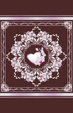Ornamental element with heart and orchid. Greeting card Royalty Free Stock Images