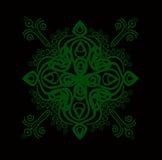 Ornamental element 3. Monochrome ornamental composition in green color on a black background Stock Photo
