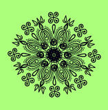 Ornamental element 2. Monochrome ornamental composition, linear pattern of black color in a circle Stock Photography