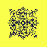 Ornamental element 4. Monochrome ornamental composition of stylized floral motifs, dark blue on a pale yellow background Stock Photo