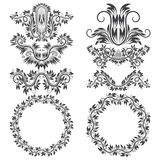 Ornamental elements and patterned round frames for design. Royalty Free Stock Photos