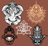 Ornamental elephant and mandalas. Hamsa for luck Royalty Free Stock Photo