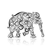 Ornamental elephant silhouette for your design. This is file of EPS10 format Royalty Free Stock Image
