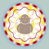 Budda inside ornamental esoteric spring solar lotu Royalty Free Stock Photos