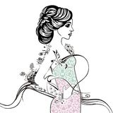 Ornamental fashion pattern elegant bride pastel coloring book. Charm female lady lace summer dress with flower. Mother`s day, march 8, women`s day. Style Stock Photo