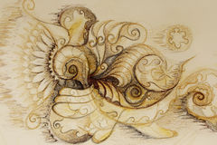 Ornamental filigran drawing on paper with spirals, flower petals and flame structure pattern. Stock Photo