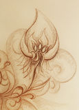 Ornamental filigran drawing on paper with spirals, flower petals and flame structure pattern. Royalty Free Stock Photos