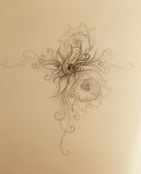 Ornamental filigran drawing on paper with spirals, flower petals and flame structure pattern. Stock Image