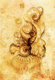 Ornamental filigran drawing on paper with spirals, flower petals and flame structure pattern, Sepia effect. Stock Photography