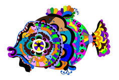 Ornamental fish. From different ethnic elements on a white background Stock Photo