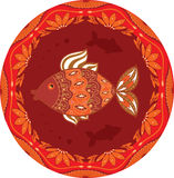 Ornamental fish on ethnic floral circle background. For your design Stock Photography