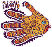 Ornamental fish shaped hands. Ornamental fish painted in the form of hand Royalty Free Stock Photography
