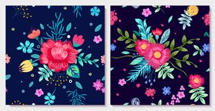 Ornamental Floral Background with Colorful Flowers. With leaves isolated on blue background. Realistic vector wallpaper design with blooming plants Stock Image