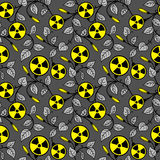 Ornamental floral background with radioactive symb Royalty Free Stock Photo