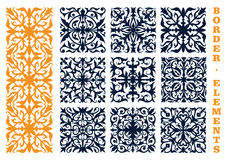 Ornamental floral borders with flowers and leaves Stock Photo