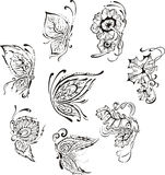 Ornamental floral butterflies Royalty Free Stock Photography