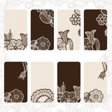 Ornamental floral card set Royalty Free Stock Photo
