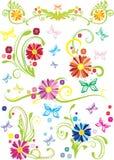 Ornamental floral design. Floral design with ornamental details in colors,  illustration Stock Images