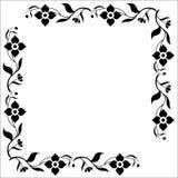 Ornamental Floral Frame. Black and white corner frame of ornamental flowers Stock Photos
