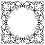 Ornamental floral frame with space for text, greeting card template or coloring book page, circle in square. Stock Image