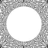 Ornamental floral frame with space for text, greeting card template or coloring book page, circle in square. Stock Images