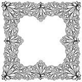 Ornamental floral frame with space for text, greeting card template or coloring book page, circle in square. Stock Photography
