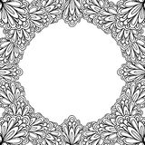 Ornamental floral frame with space for text, greeting card template or coloring book page, circle in square. Vector illustration royalty free illustration