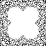 Ornamental floral frame with space for text, greeting card template or coloring book page, circle in square. Royalty Free Stock Photography