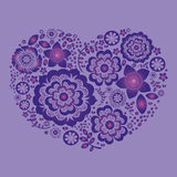 Violet ornamental floral heart Stock Image