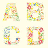 Ornamental floral letters ABCD Stock Photography