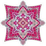 Ornamental Floral Mandala. Carpet ornament pattern. Interior mandala print in pink colors. Bright napkin design. Ornamental Floral Mandala. Carpet ornament vector illustration