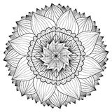 Ornamental floral mandala. Flower ornament pattern. Vector for adult coloring page or decoration Stock Images