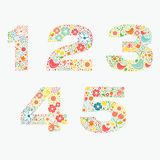 Ornamental floral numbers 1 2 3 4 5 Royalty Free Stock Photos