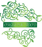 Ornamental floral organic food logo. Vector ornamental beautiful floral organic food logo. Design floral ornaments, decorative element, organic food logo Royalty Free Stock Images