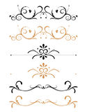 Ornamental floral page decorations. Black and brown ornamental floral page decorations and rules Stock Photo
