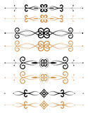 Ornamental floral page decorations. Black and brown ornamental floral page decorations and rules Stock Photography
