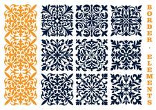 Ornamental floral pattern border elements Royalty Free Stock Image