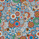 Ornamental floral pattern. With mandala style elements in blue colors. Vector illustration Stock Images