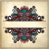 Ornamental floral pattern with place for your text. In grunge background Royalty Free Stock Photography