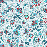 Ornamental floral seamless pattern. Abctract leaves and flowers. Decorative background Royalty Free Stock Image