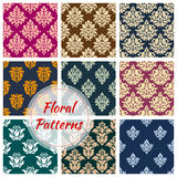 Ornamental floral seamless pattern background. Set of vignette floral seamless pattern background. Flourish nature vintage fashion decoration for cloth, leaf Royalty Free Stock Photos