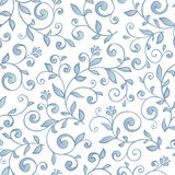 Ornamental floral seamless pattern. Delicate abctract blue leaves. Decorative background Stock Images