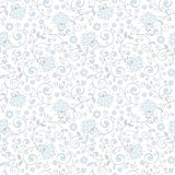 Ornamental floral seamless pattern. Delicate light blue and grey background. Wedding pattern Stock Photo