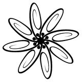 Ornamental flower. Image of the ornamental flower from waved lines, isolated on white background, can be used to make tattoo Stock Image