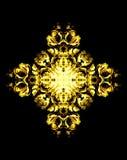 Ornamental flower mandala. Rose collage. Gold flower on black background. Royalty Free Stock Photo