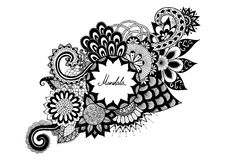 Ornamental flowers with copy space for your text for coloring book, tattoo, and other decorations. Ornamental flowers with copy space  for your text for coloring Royalty Free Stock Photos