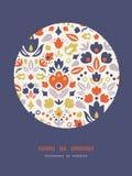 Ornamental folk tulips circle frame pattern Royalty Free Stock Image