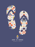 Ornamental folk tulips flip flops pattern Royalty Free Stock Photography